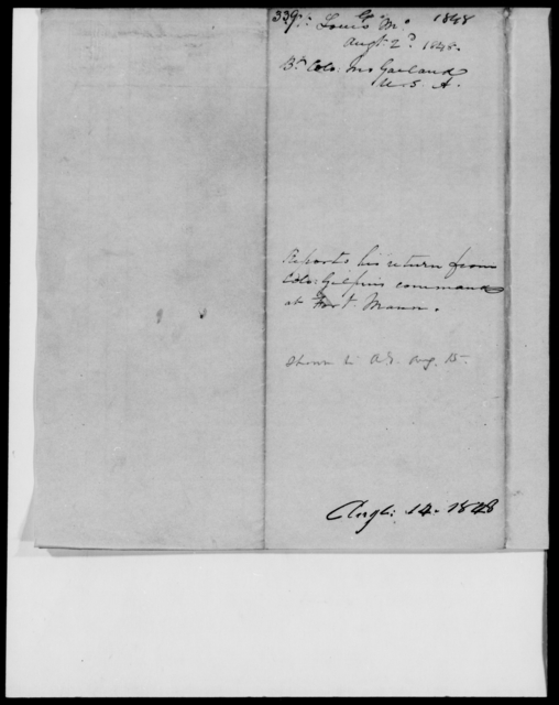 Garland, Jno - State: Missouri - Year: 1848 - File Number: G339