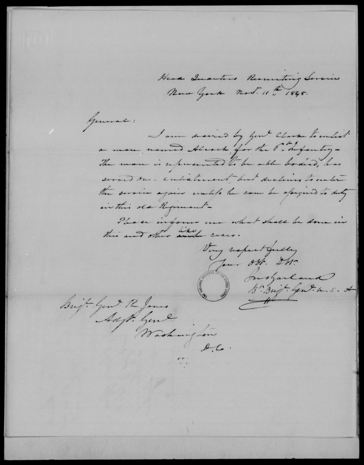 Garland, Jno - State: New York - Year: 1848 - File Number: G541
