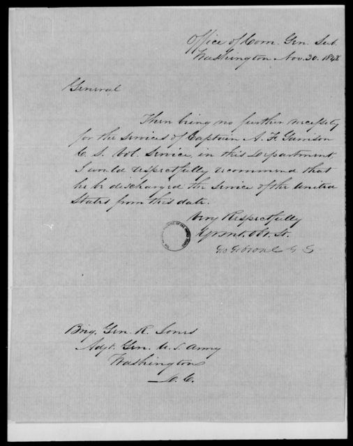 Garrison, A F - State: Washington - Year: 1848 - File Number: G560