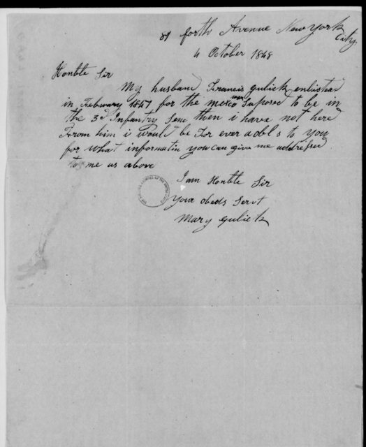 Gates, Wm - State: New York - Year: 1848 - File Number: G472