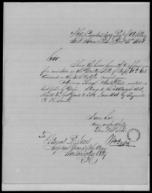Gates, Wm - State: Rhode Island - Year: 1848 - File Number: G585
