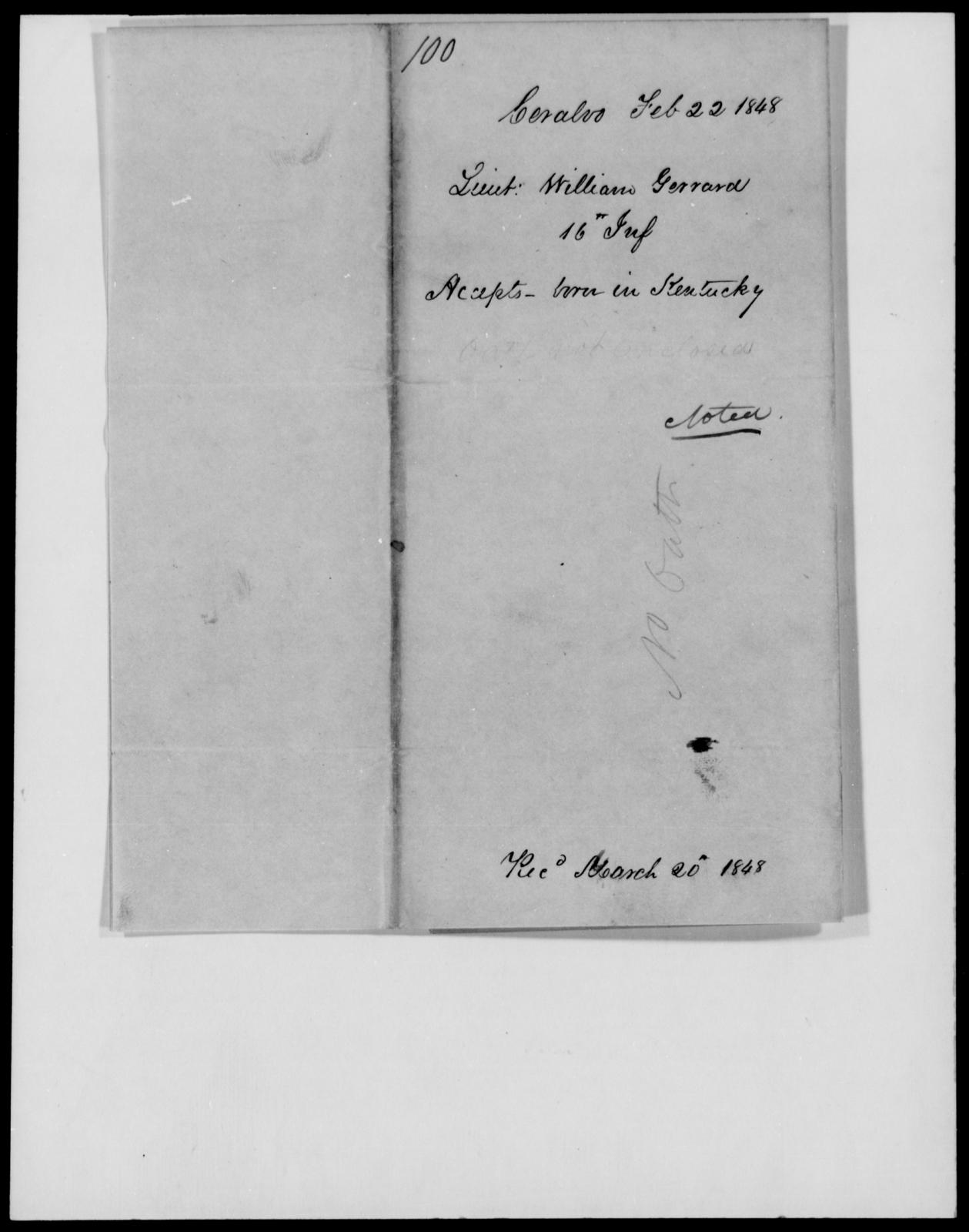 Gaward, William - State: Kentucky - Year: 1848 - File Number: G100
