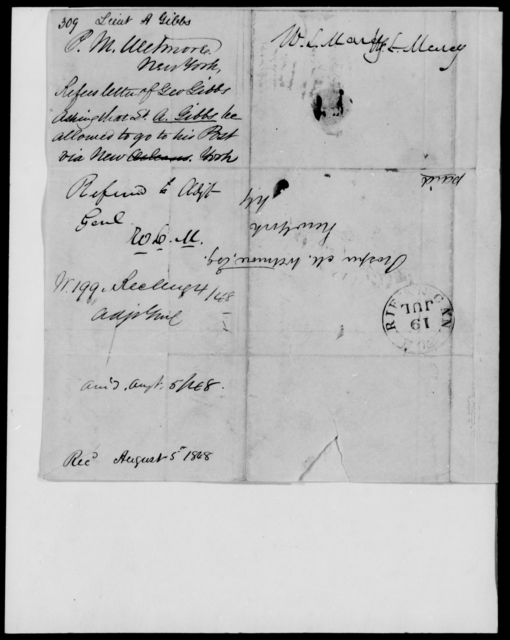 Gibbs, A - State: New York - Year: 1848 - File Number: G309