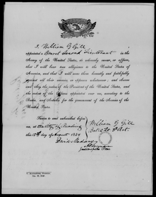 Gill, William G - State: [Blank] - Year: 1848 - File Number: G343