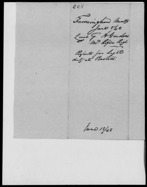 Gordon, George H - State: Massachusetts - Year: 1848 - File Number: G228