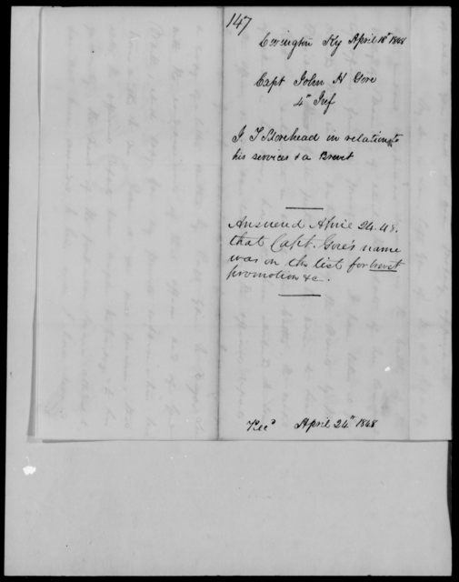 Gore, John H - State: Kentucky - Year: 1848 - File Number: G147