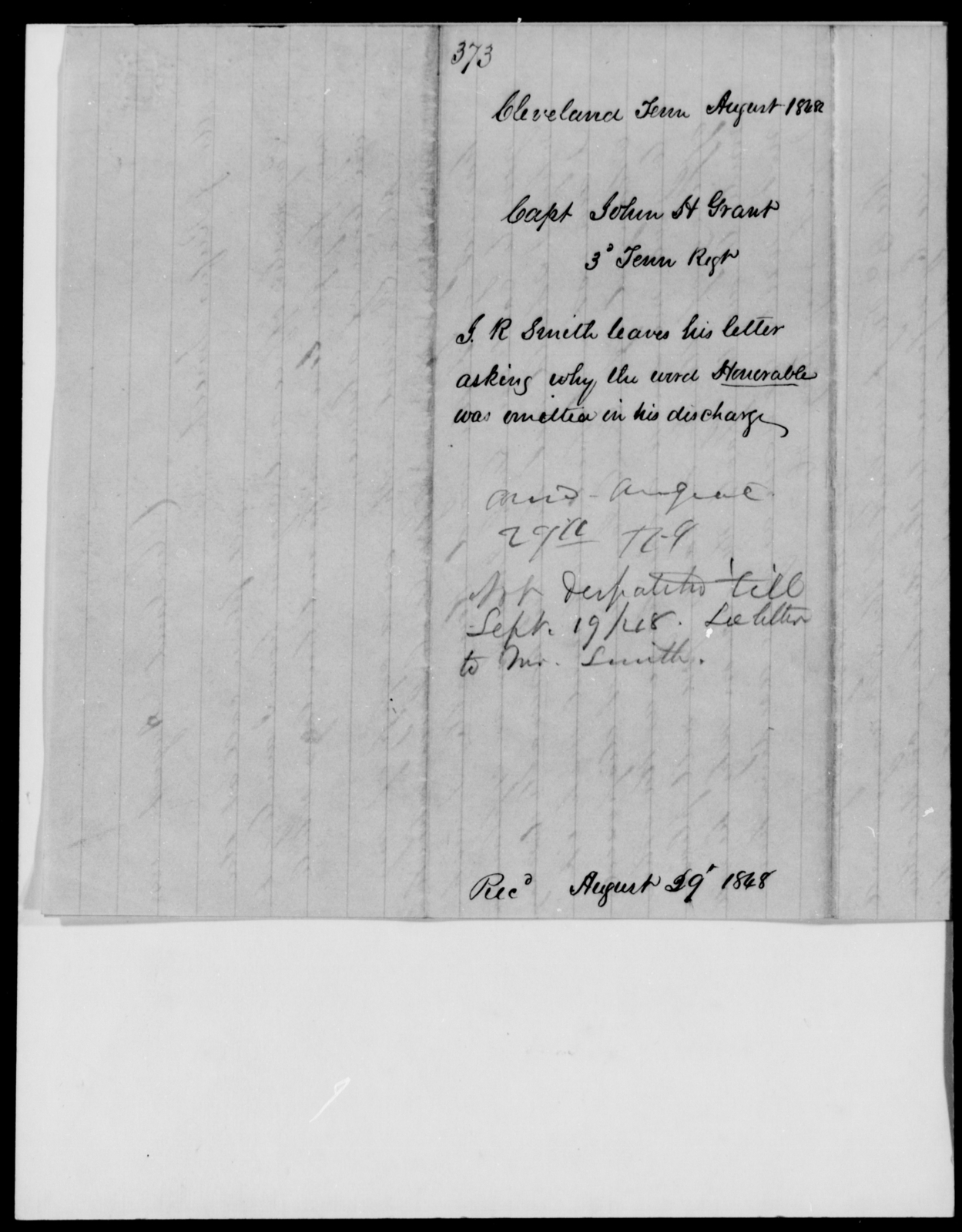 Grant, John H - State: Tennessee - Year: 1848 - File Number: G373