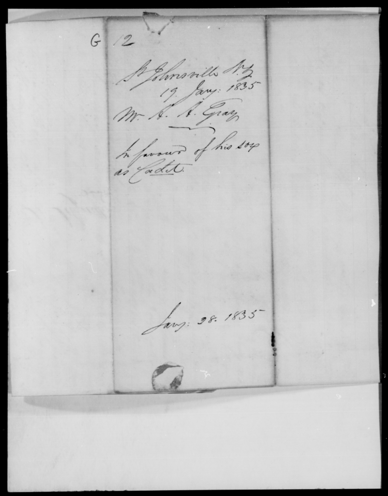 Gray, Adams A - State: New York - Year: 1835 - File Number: G12