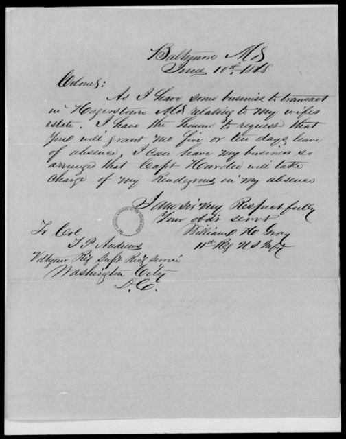 Gray, William H - State: Maryland - Year: 1848 - File Number: G223