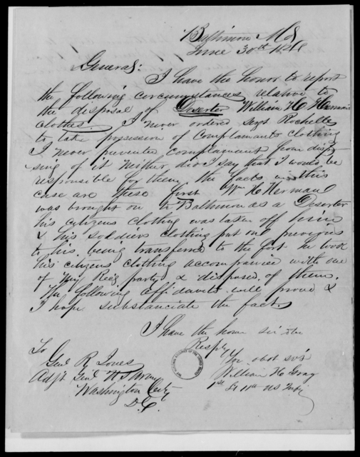 Gray, William H - State: Maryland - Year: 1848 - File Number: G250