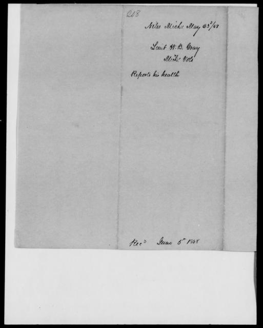 Gray, Wm B - State: Michigan - Year: 1848 - File Number: G208