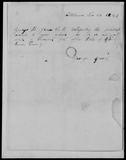 Green, George M - State: [Blank] - Year: 1848 - File Number: G575
