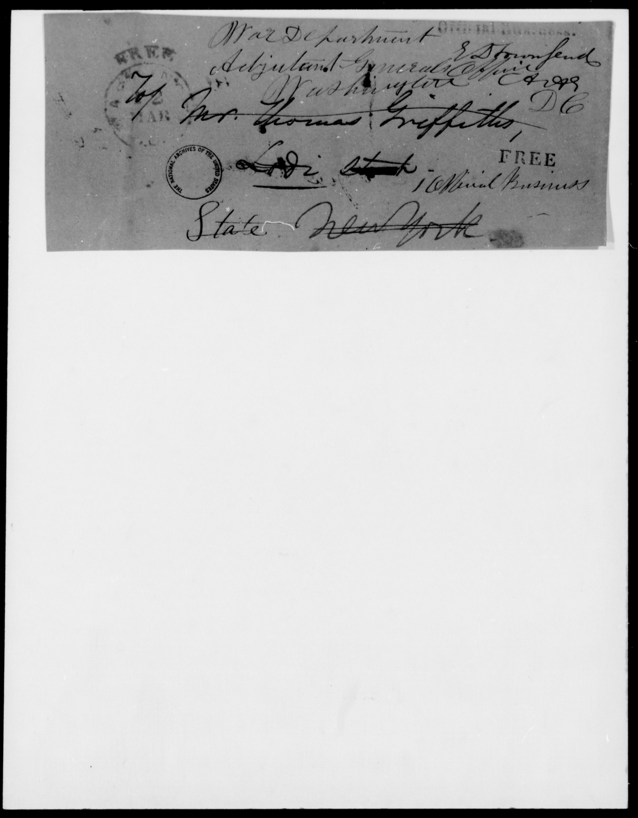 Griffith, Thomas - State: District of Columbia - Year: 1848 - File Number: G399