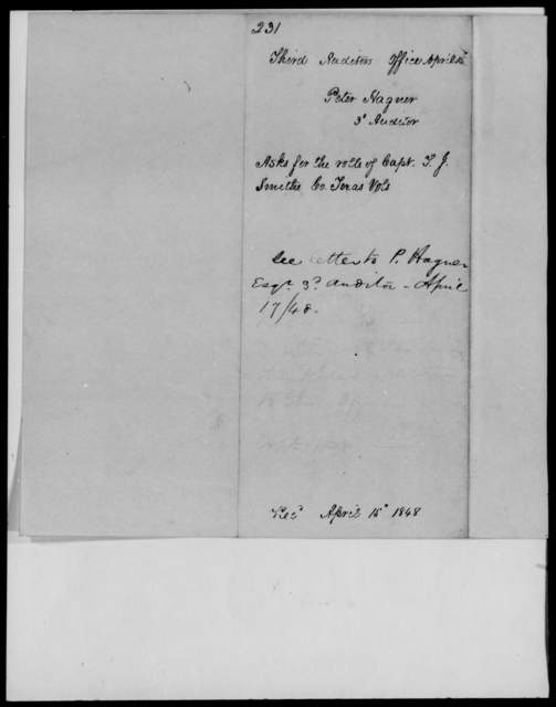 Hagner, Peter - State: Texas - Year: 1848 - File Number: H231