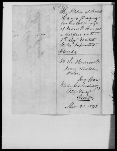 Haines, Rosetta - State: Florida - Year: 1843 - File Number: H55