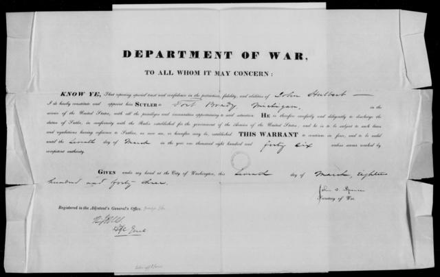 Halbert, Jno - State: Michigan - Year: 1843 - File Number: H102