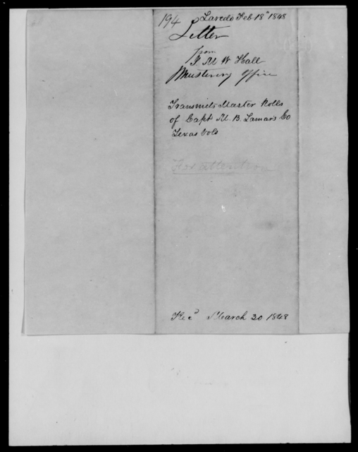 Hall, J M W - State: Texas - Year: 1848 - File Number: H194