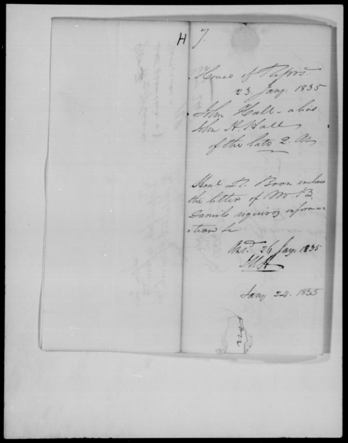 Hall, John H - State: District of Columbia - Year: 1835 - File Number: H7