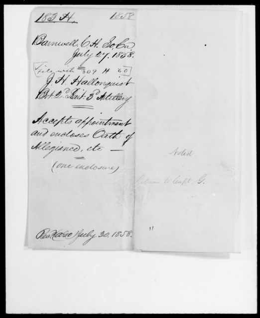 Hallonquist, James H - State: South Carolina - Year: 1860 - File Number: H309