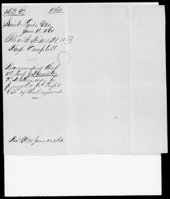 Hamilton, D S - State: Missouri - Year: 1860 - File Number: H145