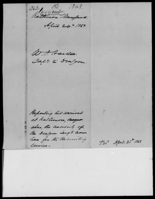 Hardee, W J - State: Maryland - Year: 1848 - File Number: H262
