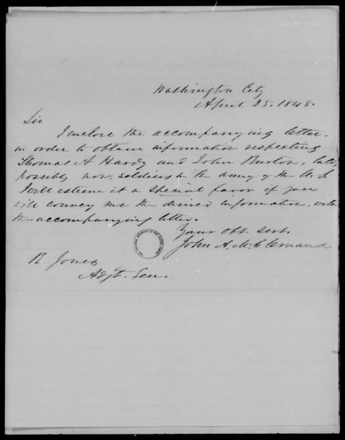 Hardy, Thomas A - State: District of Columbia - Year: 1848 - File Number: H271