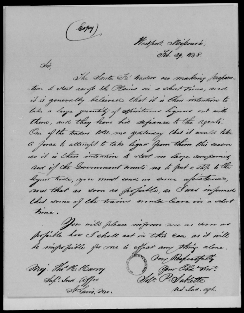 Harney, Thomas H - State: Missouri - Year: 1848 - File Number: H211
