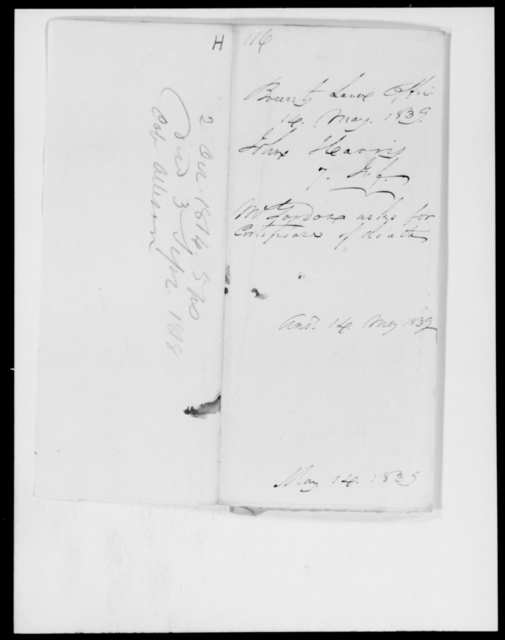 Harris, John - State: Florida - Year: 1839 - File Number: H116