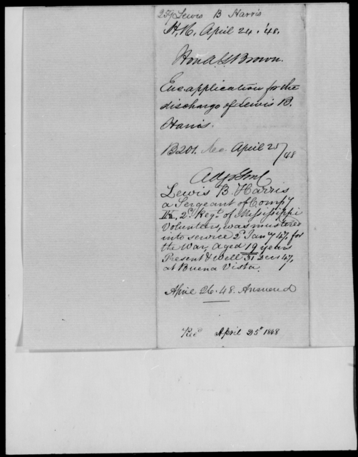 Harris, Lewis B - State: Mississippi - Year: 1848 - File Number: H259