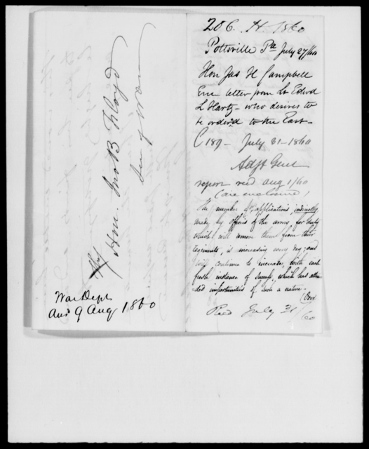 Hartz, Edwd L - State: Pennsylvania - Year: 1860 - File Number: H206