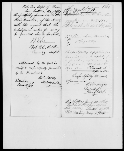 Haskell, A M - State: Texas - Year: 1860 - File Number: H143