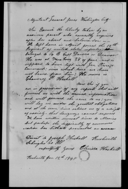Haskell, Chauncey P - State: District of Columbia - Year: 1848 - File Number: H31