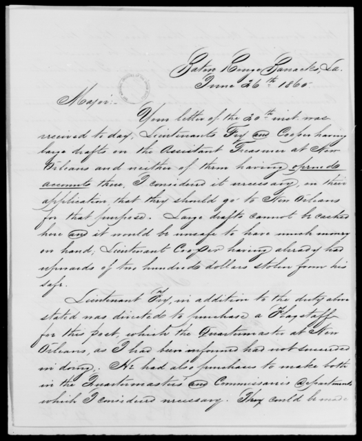 Haskin, J A - State: Louisiana - Year: 1860 - File Number: H169