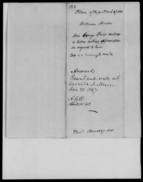 Hasson, William - State: New Mexico - Year: 1848 - File Number: H182