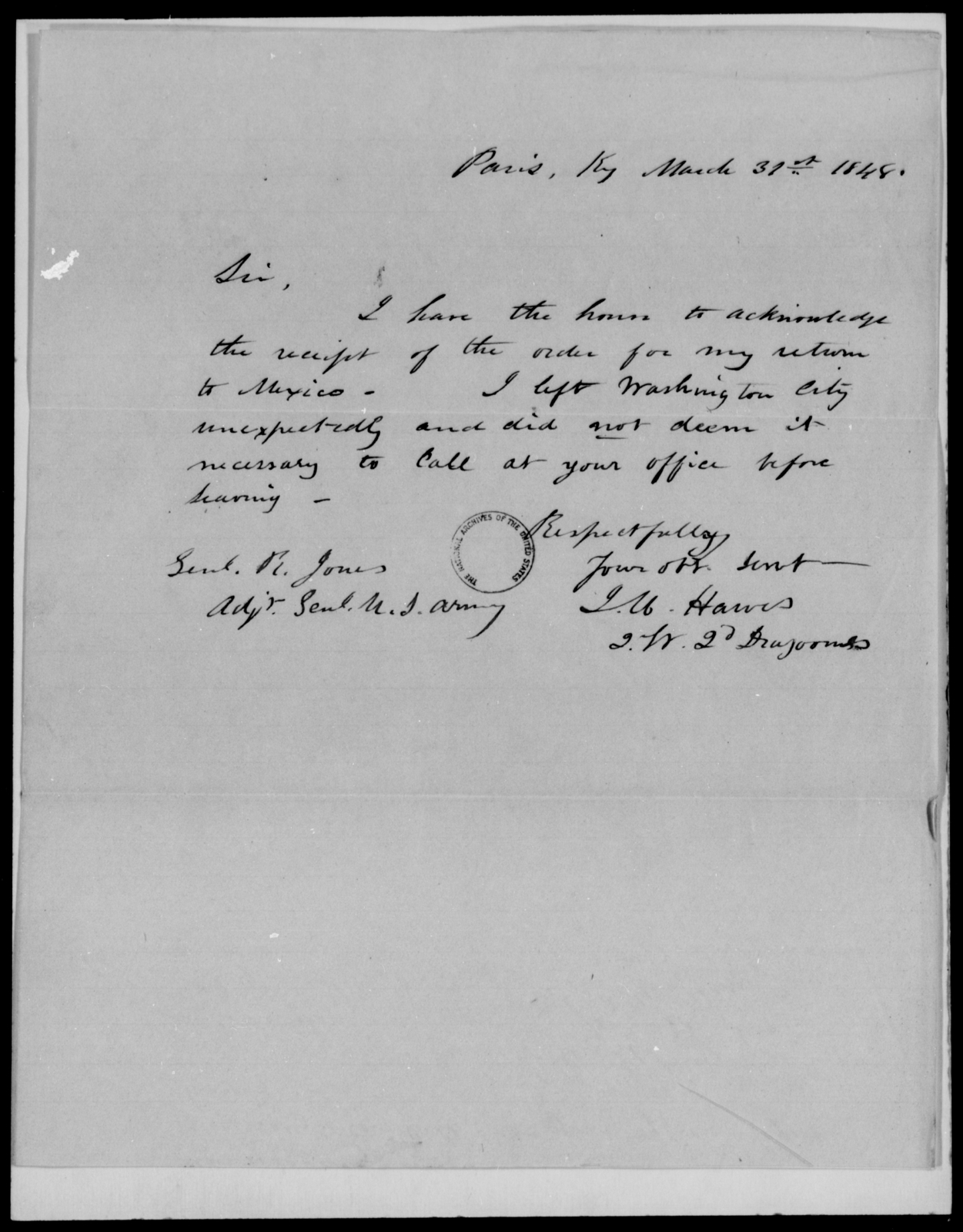 Hawes, J M - State: Kentucky - Year: 1848 - File Number: H210