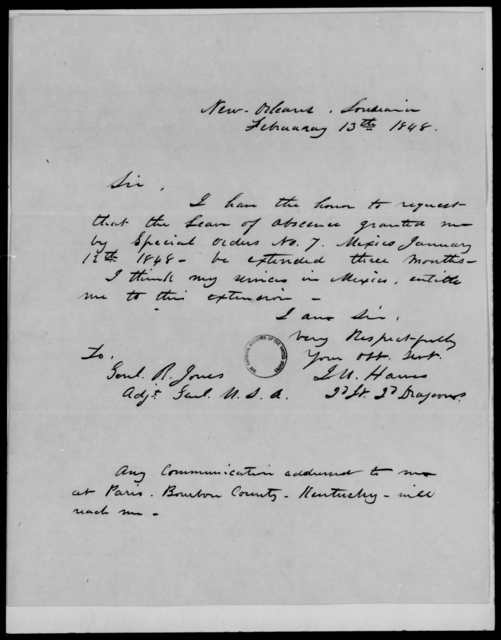 Hawes, J W - State: Louisiana - Year: 1848 - File Number: H165