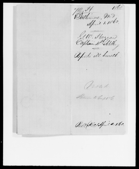 Hazzard, George W - State: Maryland - Year: 1860 - File Number: H72