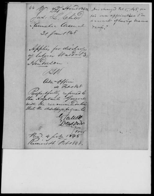 Henderson, Waldo B - State: [Blank] - Year: 1848 - File Number: H64