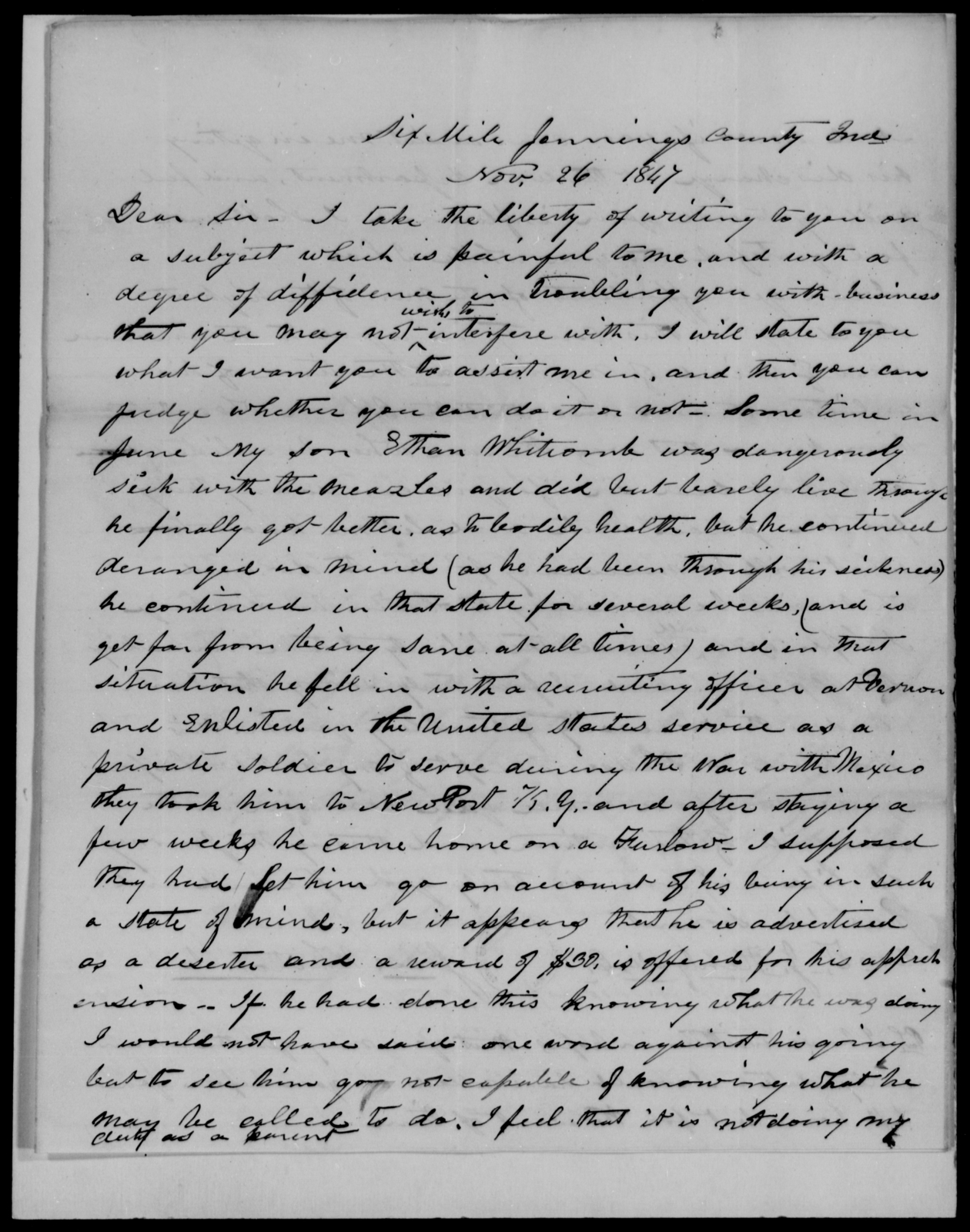 Henley, Thos J - State: Indiana - Year: 1848 - File Number: H1