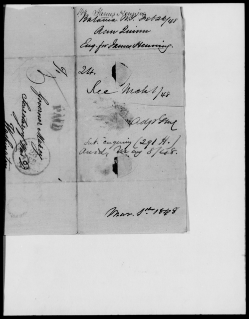 Henning, James - State: New York - Year: 1848 - File Number: H144