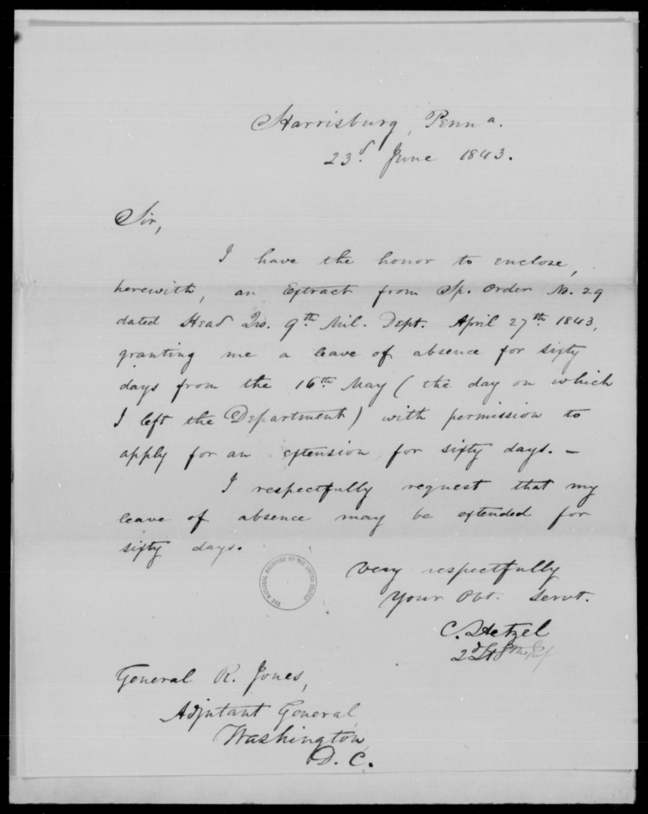 Hetzel, C - State: Pennsylvania - Year: 1843 - File Number: H124