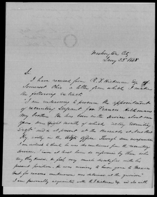Hickman, Francis - State: District of Columbia - Year: 1848 - File Number: H30
