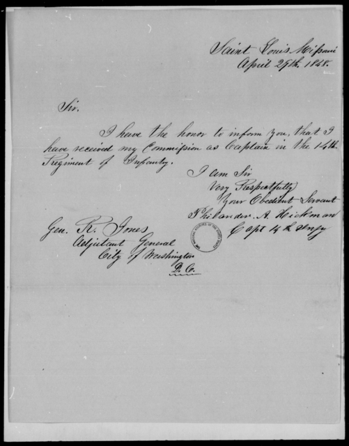 Hickman, Philander A - State: Missouri - Year: 1848 - File Number: H293