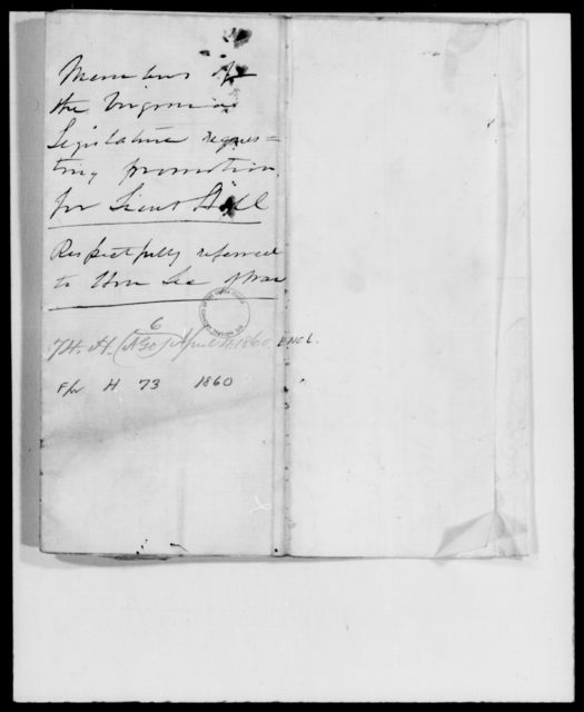 Hill, A P - State: Virginia - Year: 1860 - File Number: H73
