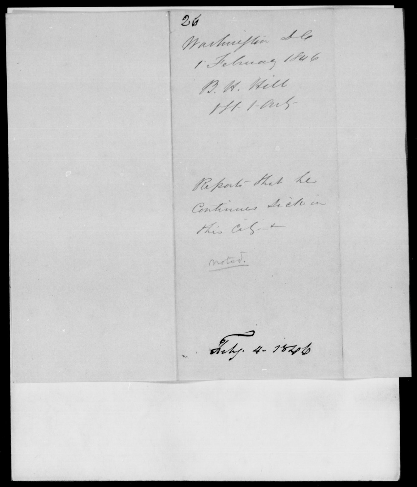 Hill, B H - State: District of Columbia - Year: 1846 - File Number: H26