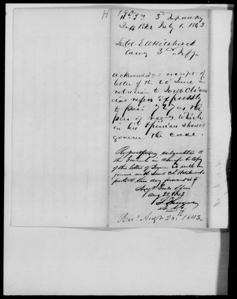 Hitchcock, E A - State: New York - Year: 1843 - File Number: H180