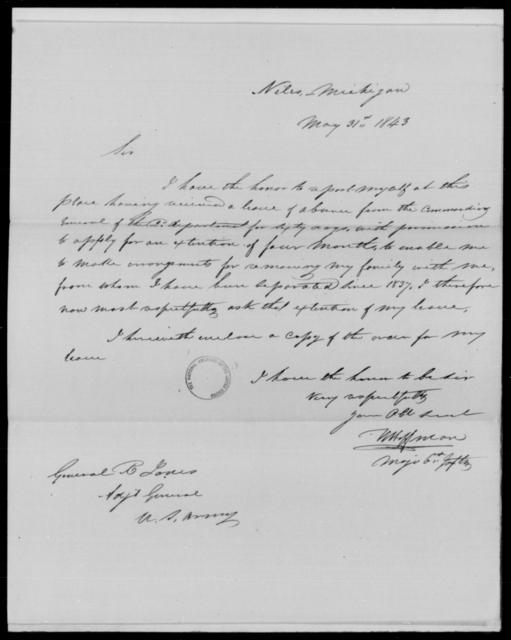 Hoffman, W - State: Michigan - Year: 1843 - File Number: H115