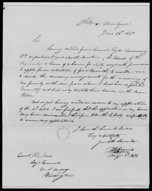 Hoffman, W - State: Michigan - Year: 1843 - File Number: H136