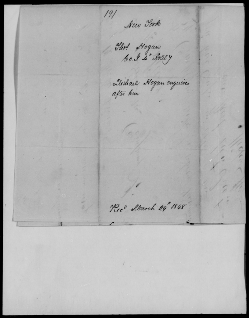 Hogan, Thos - State: New York - Year: 1848 - File Number: H191