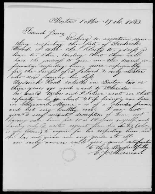 Hood, Frederick - State: Missouri - Year: 1843 - File Number: H7